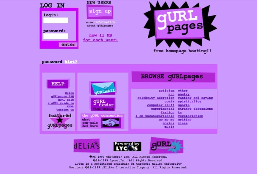 The GURLpages homepage. Very 90s, very purple.