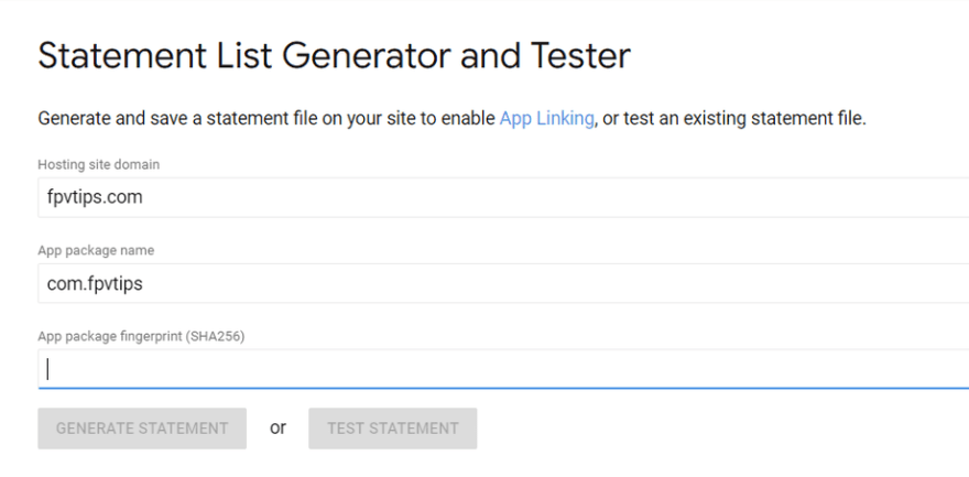 Google Digital Asset Links, Statement List Generator and Tester tool