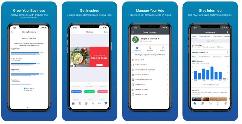 React Native apps: Facebook Ads Manager app screenshots