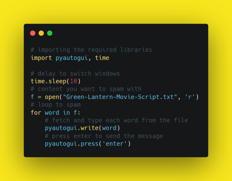 Code for Message Bomber Using File in Python