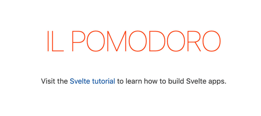A big 'il Pomodoro' sign followed by a prompt to visit svelte.dev to learn more about Svelte