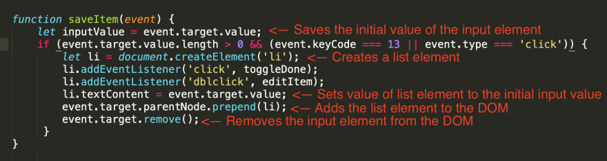 Steps for the 'saveItem' function