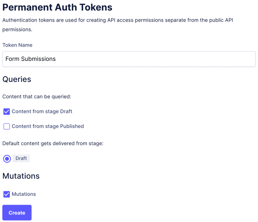 Create Permanent Auth Token