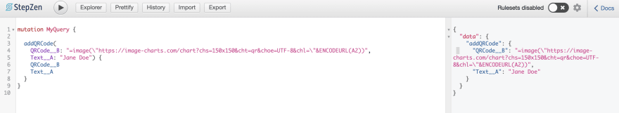 JSON response QR code