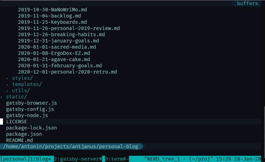screenshot of Tmux and tmux tabs