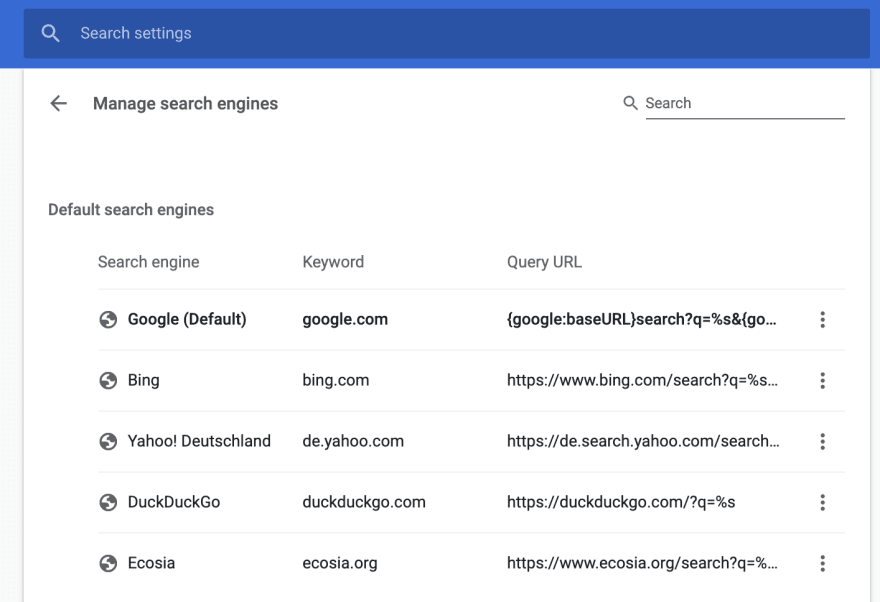 Chrome's Search Engines