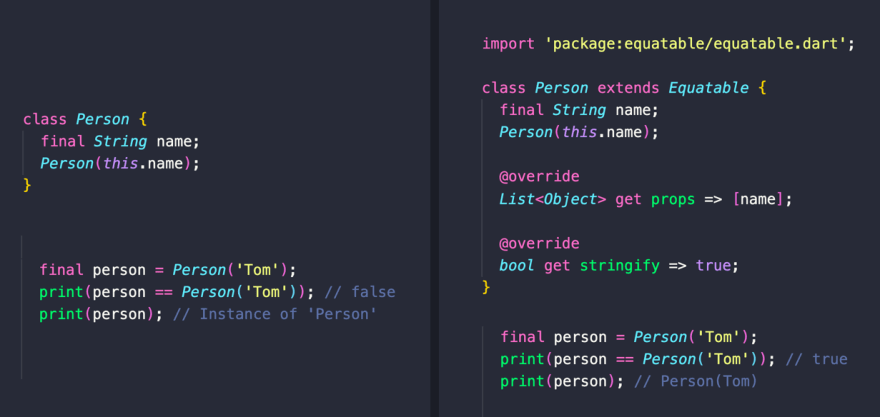 Want to auto-generate hashCode, == and toString() implementations for your classes? Use the Equatable package: