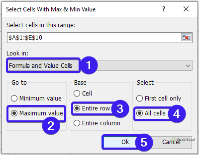 Select Cells With Max & Min Value dialog box