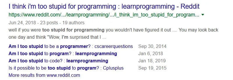 Posts on r/programming from people who feel discouraged and overwhelmed.