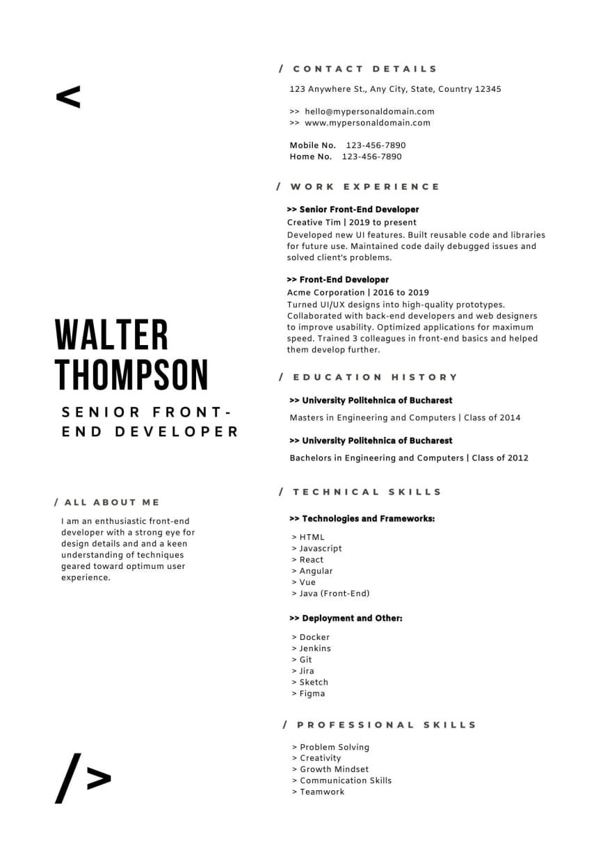 Senior Web Developer Resume Example