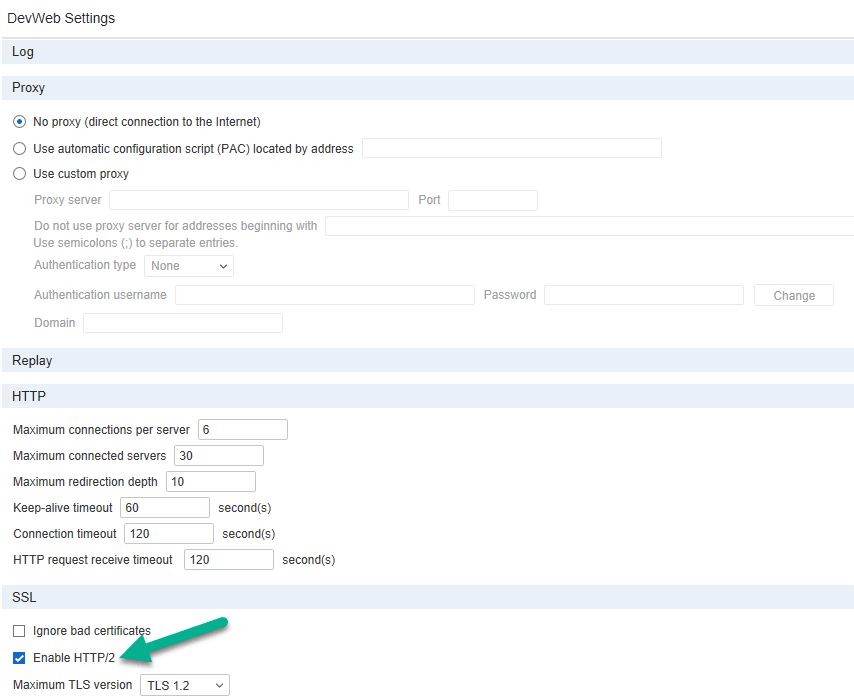 DevWeb Replay Settings
