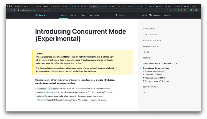 The documentation page about Concurrent mode