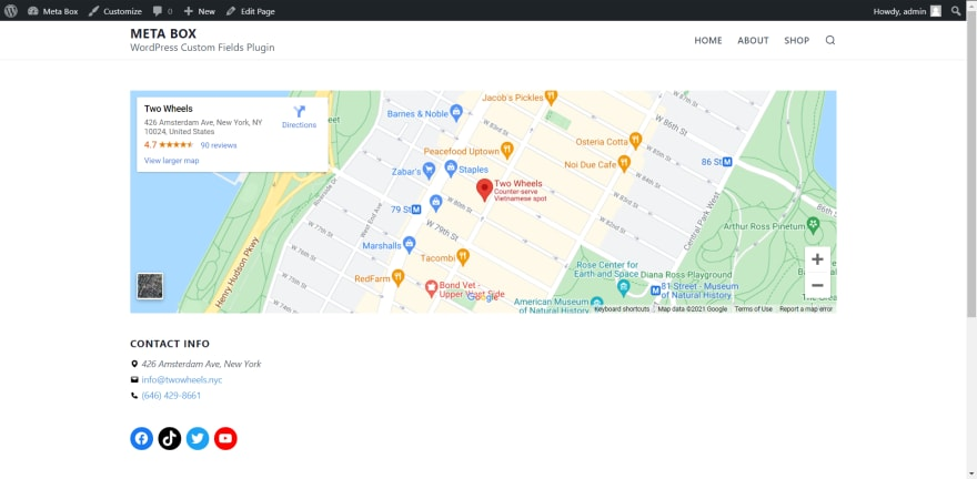 the reservation page with the maps and contact info of the restaurant
