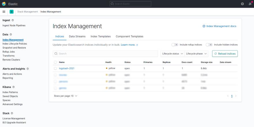 Kibana Index Management