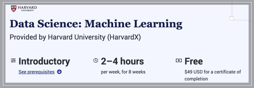 Data Science: Free Machine Learning Course by Harvard