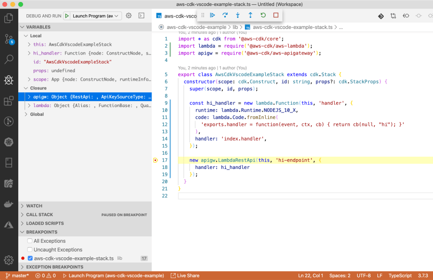 VSCode CDK debugging callstack