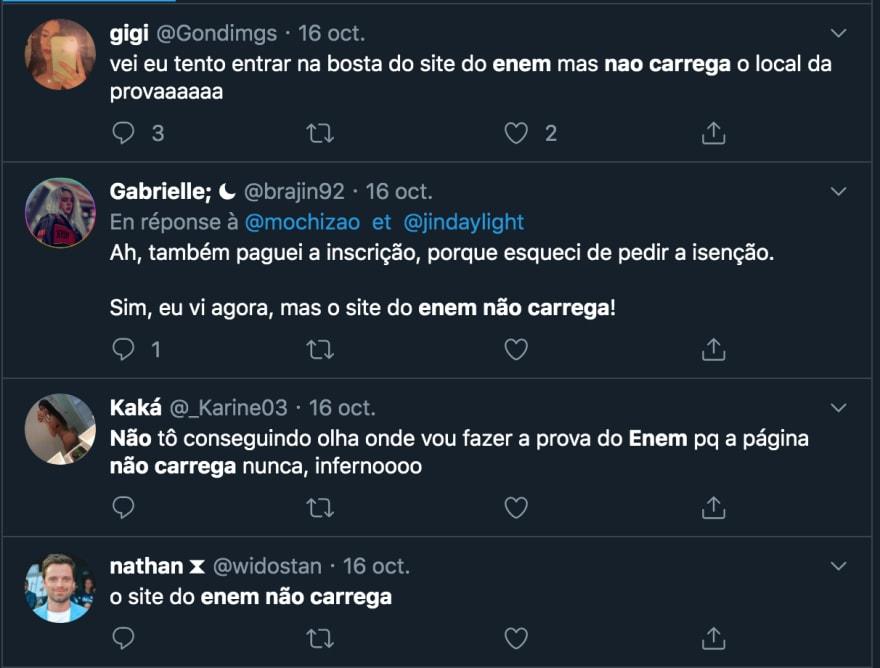 Comentários no Twitter sobre o ENEM
