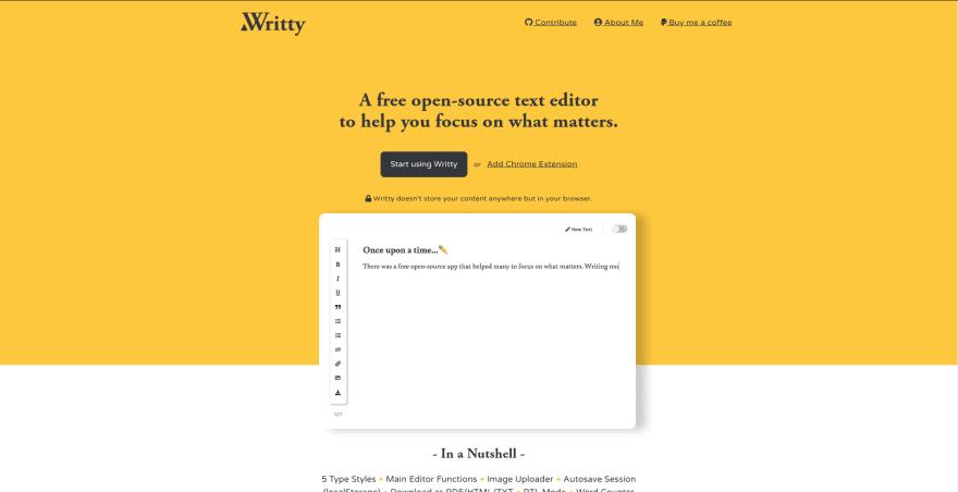Writty landing page