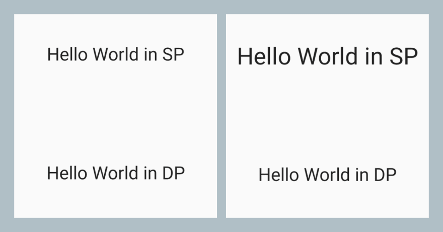 Screenshot shows text in sp and dp, when device font size is increased, only sp text is scaling up