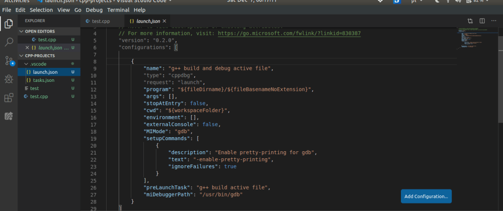 Cover image for Easy set-up: Automate building and debugging a currently active C++ source file with VS Code on Linux