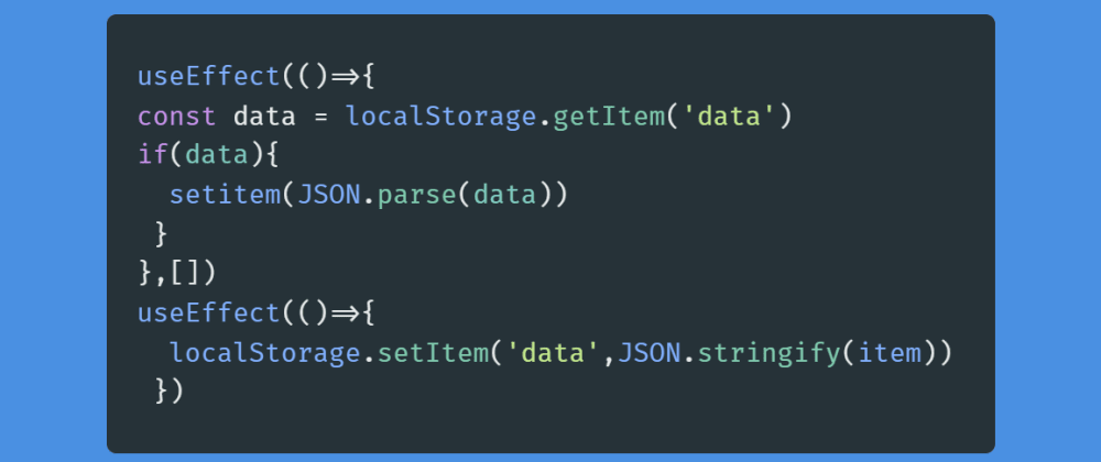 Cover image for How to persist data to localStorage in React with hooks.