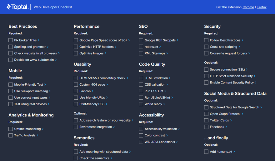 Web Developer Checklist Chrome Extension