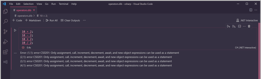 Expressions are not valid statements