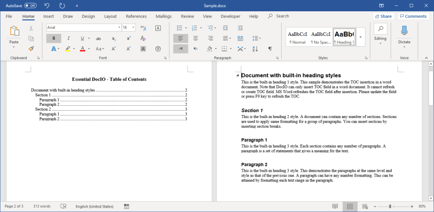 A Table of Contents Created with Built-in Heading Styles