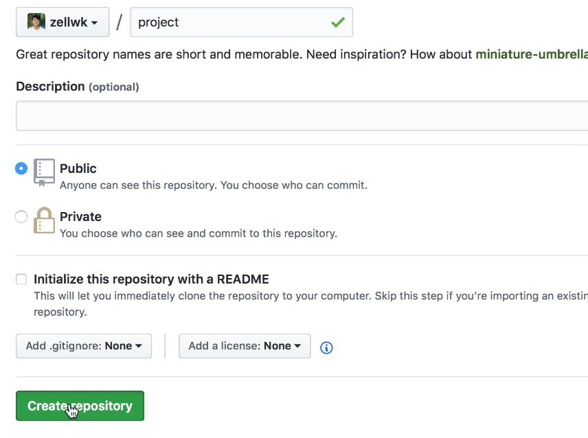 Example of creating a repo