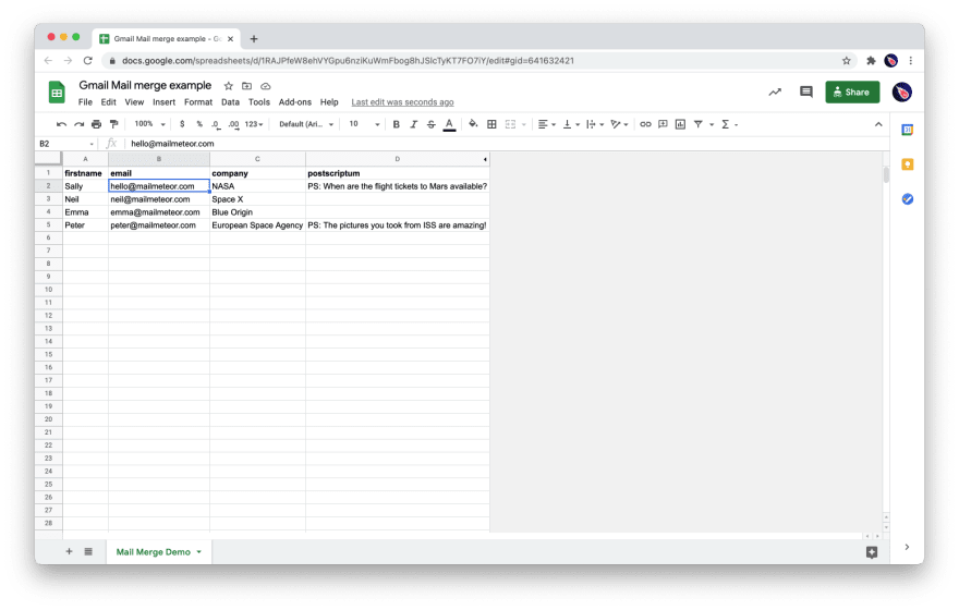Demo spreadsheet to mail merge in Gmail
