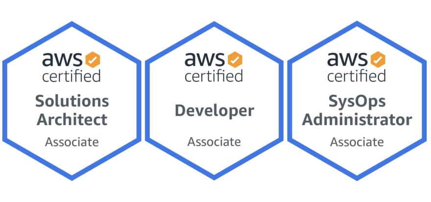 This image contains all the associate-level certification badges from AWS