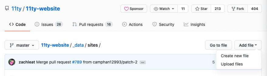 Shows user selecting create new file menu item in GitHub