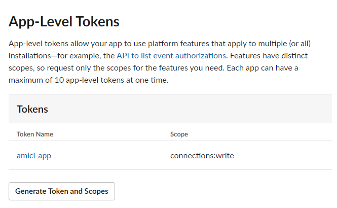 app level tokens