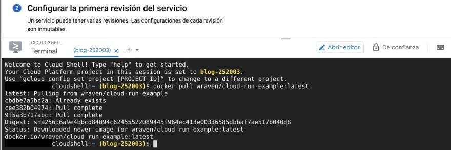 Este es el último paso y habremos creado el servicio de Cloud Run