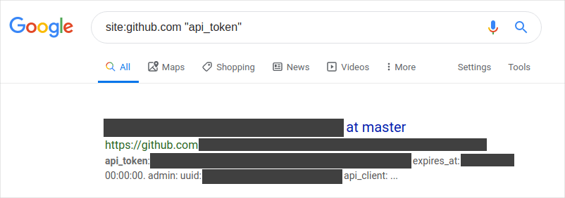 A screenshot of a Google search for tokens on GitHub