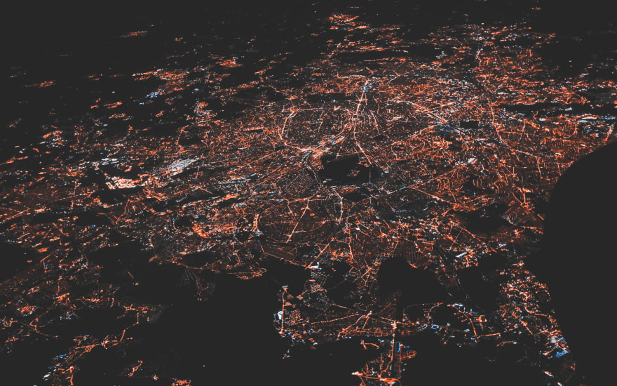 Satellite Image of a City at Night