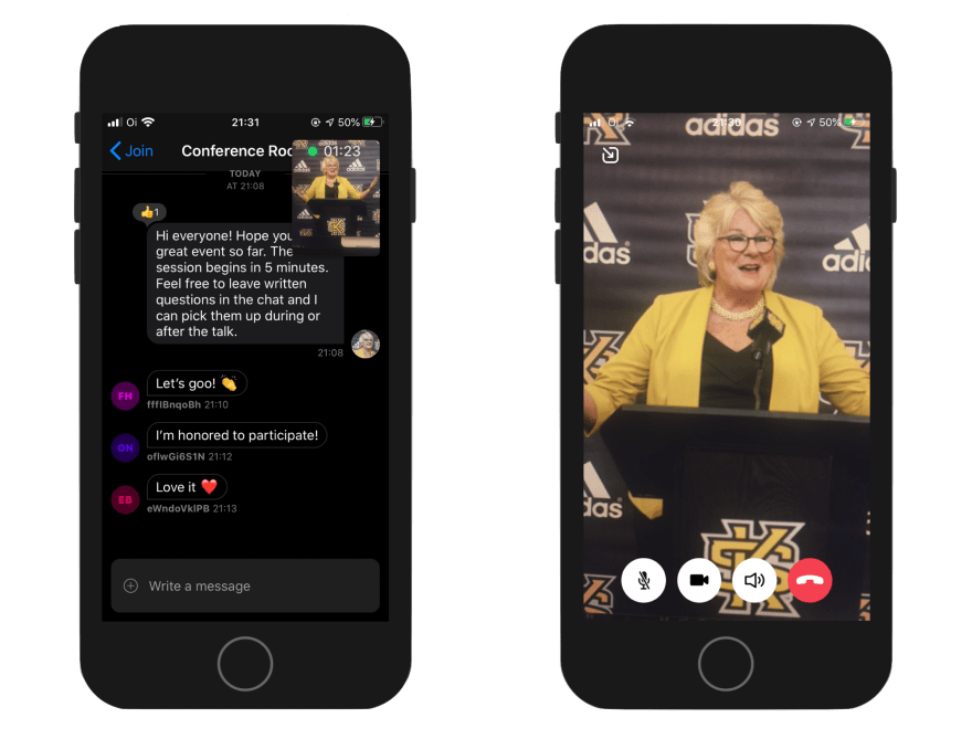Image shows two screenshots of the completed event app, one from the chat screen with a small video overlay with the speaker, and another with a fullscreen livestream video of the speaker