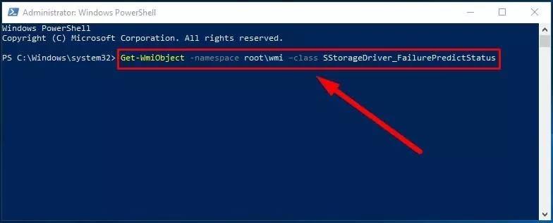 Get-WmiObject -namespace root\wmi –class SStorageDriver_FailurePredictStatus