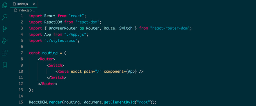 React code snippet with the Vue theme