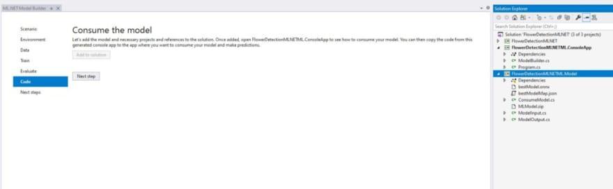 Add Code from Model Builder Visual Studio