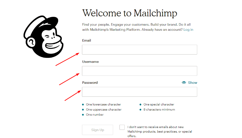 Create an account on MailChimp