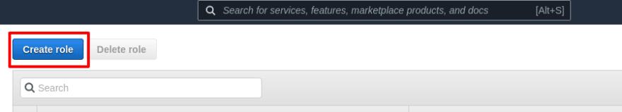 Create role button