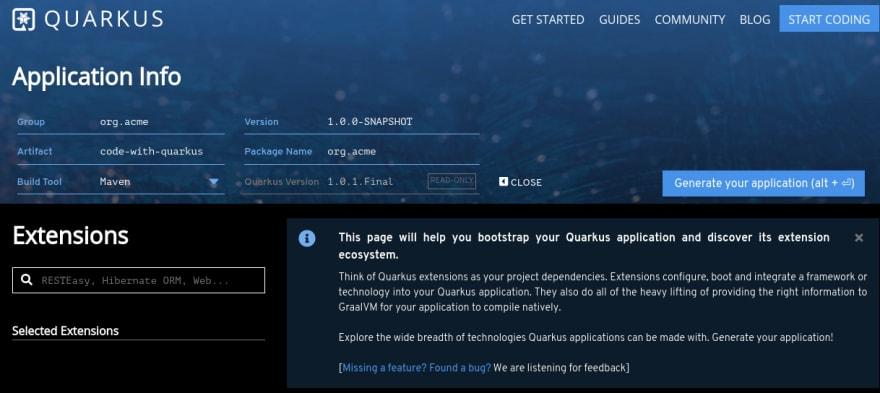 Imagem mostra tela inicial do bootstrap que o Quarkus fornce isso pode ser encontrado em https://code.quarkus.io/