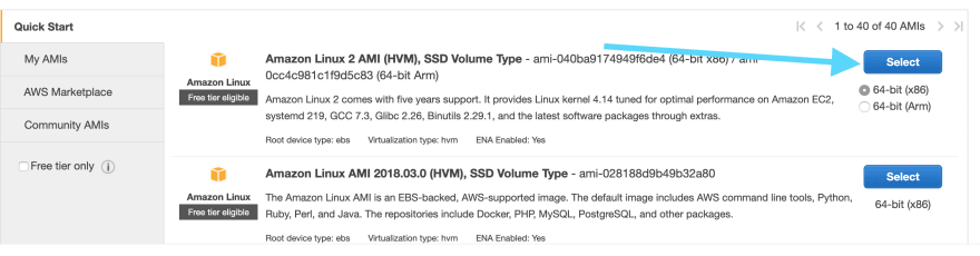Selecting Amazon Linux 2 AMI
