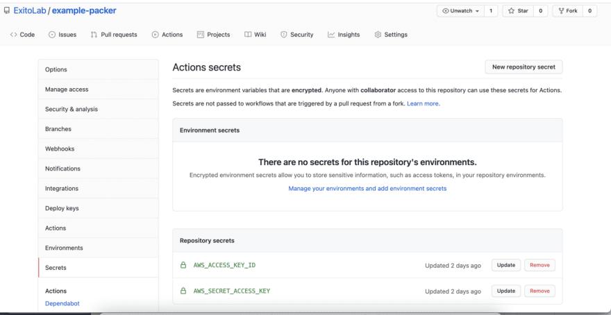 Adding secrets in GitHub for GitHub Actions