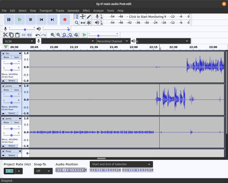 An Audacity project being edited