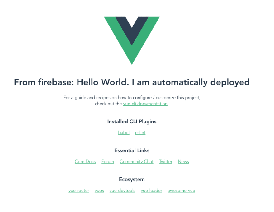 Result from automatic deployment in Firebase