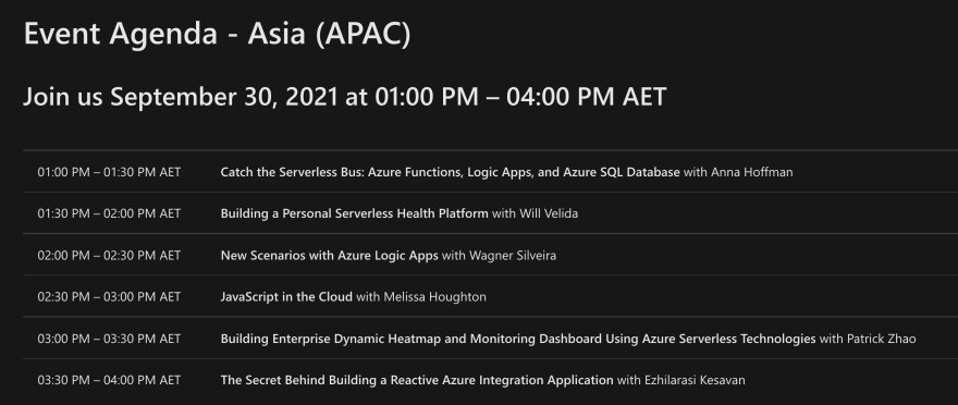 Schedule for the Azure Serverless Conference: Asia Edition