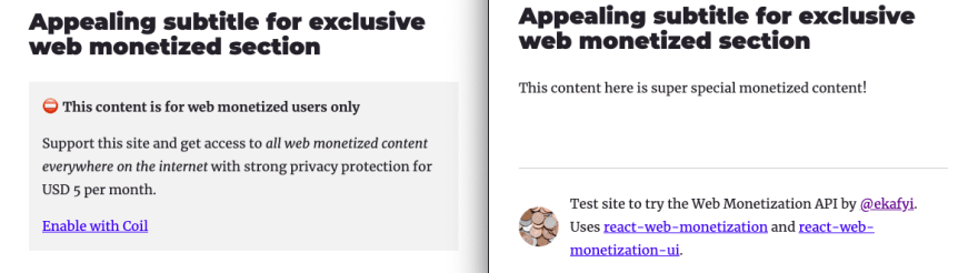 Comparison of two Gatsby sites created from the official blog starter, one shows exclusive content for monetized users and the other shows call to action with a link to Coil website