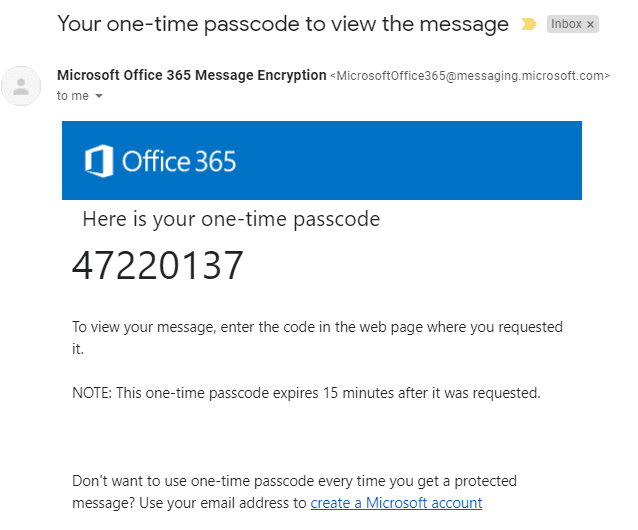 One-time password is sent by email